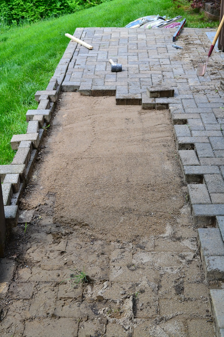 ... Patio Paver AR During (2) - Repairing Sunken Patio Pavers. «